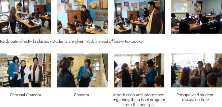 Participate directly in classes – students are given iPads instead of heavy textbooks/Principal Chandra/ Introduction and information regarding the school program from the principal /Principal and student discussion time