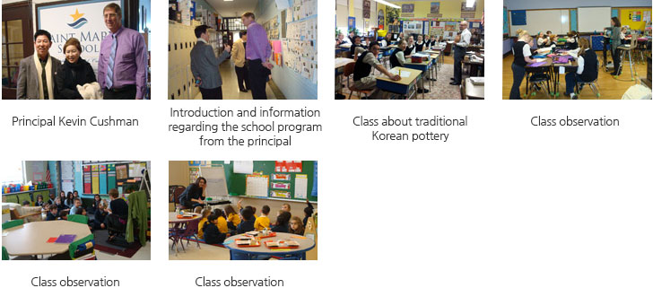 Principal Kevin Cushman/ Introduction and information regarding the school program from the principal/Class about traditional Korean pottery/Class observation