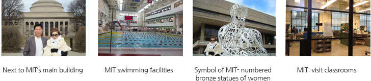 Next to MIT's main building/MIT swimming facilities/Symbol of MIT- numbered bronze statues of women/MIT: visit classrooms